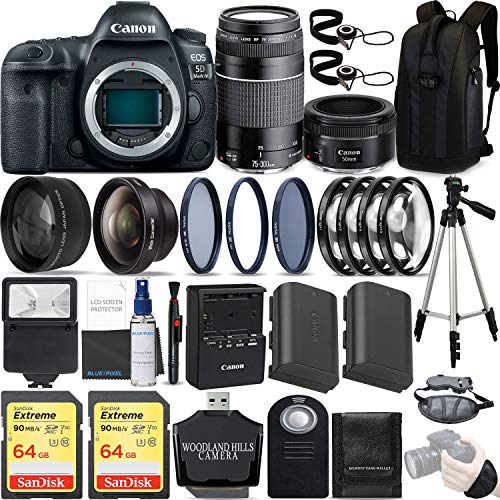 Canon EOS 5D Mark IV 30.4 MP DSLR Full Frame Camera Body with EF 50mm F1.8 STM Lens + EF 75-300mm F4-5.6 III Lens Kit Ultimate Travel Bundle