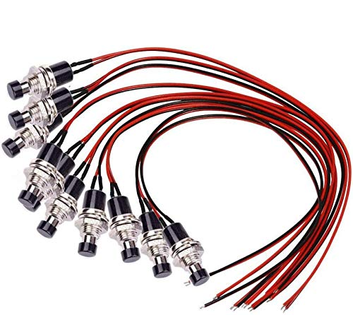 Donjon, interruttore a pressione momentanea, (con filo da 20AWG), mini pulsanti, SPST ON/OFF per auto, PC, lampada da tavolo (10 pezzi).