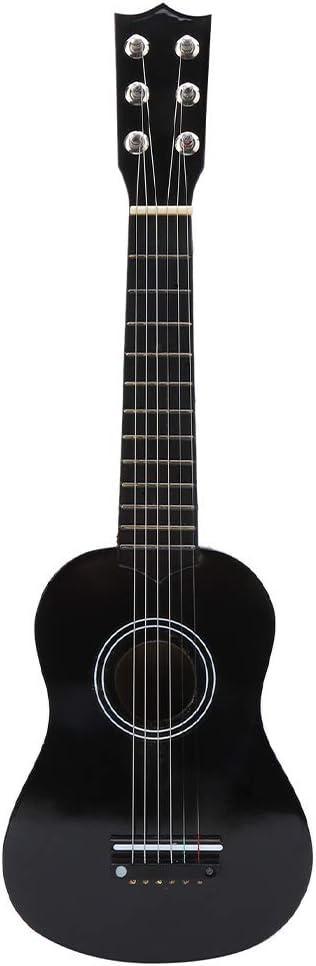 Guitarra acústica para niños, 21 pulgadas, portátil, para niños, guitarra de juguete, madera maciza, guitarra negra, juguetes musicales, instrumentos musicales, guitarra junior con cuerda de acero par