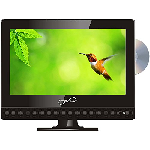 SuperSonic 1080p LED Widescreen HDTV with HDMI Input, AC/DC Compatible for RVs and Built-in DVD Player, 13.3-Inch (Renewed)