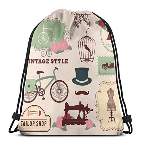 QUEMIN Happy Easter Drawstring Bag, Vintage Tailor Shop Tote Backpack Sackpack for Women Men Gym Sack Bag for Travel Beach Books Storage Bag