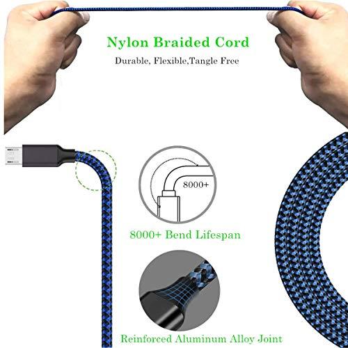 Micro USB Kabel Ladekabel 3M Lang 3stk Nylon 2A Android Handy Kabel Datenkabel für Samsung Galaxy S7 S6 Edge/S5/S4/J7/J3/Note 5 4/Tablet, Sony, Nexus, Nokia, Moto, HTC, PS4, Kindle, XBox etc.(Blau)