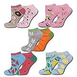 soxo Damen Sneaker Socken (5 Paar)   Kurze Socken für Frauen mit Lustigen Mustern   Größen 35-40