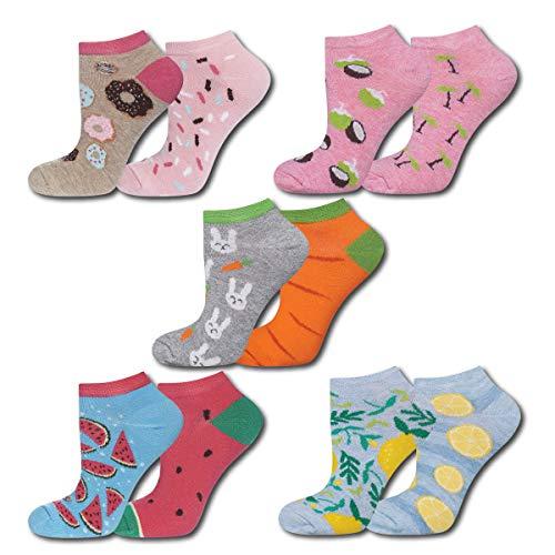 soxo Damen Bunte Sneaker Socken | Größe 35-40 | 5er Pack | Baumwolle Damensocken mit lustigen Motiven | niedriger Schnitt | Ideal für flache Schuhe | tolle Ergänzung für Ihre Garderobe