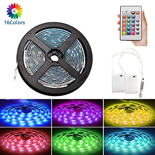 Lampade fluorescenti LED RGB 3m Luci alimentate a batteria Luci LED flessibili Impermeabili con batteria Scatola di alimentazione e telecomando