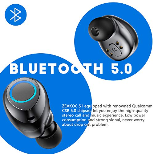 ZEAKOC True Wireless Earbuds TWS Stereo Bluetooth 5.0 Headphones with Professional Audio Chipset CVC8.0 Noise Cancelling in-Ear Earphone IPX5 Waterproof 40H Playtime Sports Earpiece with Charging Case
