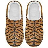 Linomo Pantuflas tropicales con estampado de tigre para mujer, para casa, para interiores, zapatos de casa, zapatos de dormitorio, multicolor, 43/44 EU