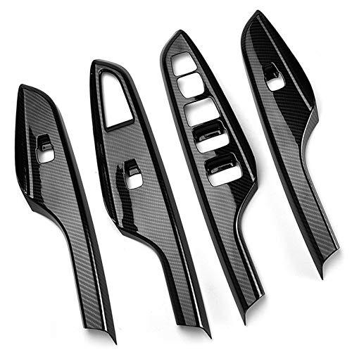 Cubierta de interruptor de ventana de puerta de coche de fibra de carbono de 4 piezas, negra, para Hyundai Kona Encino 18~19 Cubierta de panel de elevación de ventana de reposabrazos de puerta
