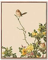 繁体字中国語スタイルクラシックキャンバス絵画花鳥クラシックアートポスタープリントヴィンテージプリント壁アート装飾写真40x60cmフレームなし-Q6