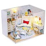 NSWMHDQ Modelo Juguete- Miniatura Casa de muñecas con Muebles, Bricolaje de Madera a Prueba de Polvo Dollhouse Kit Plus