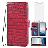 Asuwish Compatible with Samsung Galaxy J7 2016 Wallet Case with Tempered Glass Screen Protector Flip Cover Card Holder Cell Phone Cases Purse Rugged Credit ID Slot Magnetic for Glaxay J 7 J710 Red