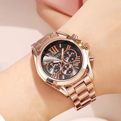 shangwang Reloj de cuarzo para mujer, estilo casual, impermeable, con calendario, dorado, para mujer, reloj de cuarzo único, para negocios, color rosa dorado y negro