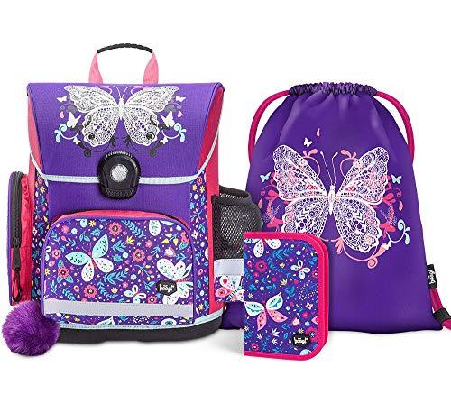 Schulranzen Mädchen Set 3 Teilig - Schultasche ab 1. Klasse - Grundschule Ranzen mit Brustgurt - Ergonomischer Schulrucksack (Schmetterling)