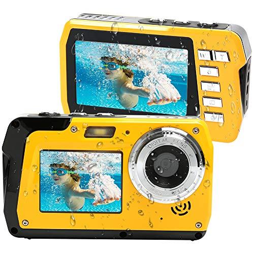 Unterwasserkamera Unterwasser Kamera 2.7K Full HD 48.0 MP Kamera mit Zwei Bildschirmen für Selfie wasserdichte Kamera zum Schwimmen und Schnorcheln