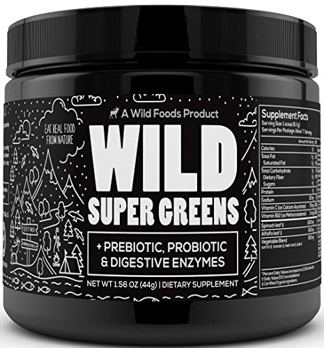 Wild Super Greens Superfood Powder - Organic Green Powder Supplement with Prebiotic Probiotic & Digestive Enzymes - Mixed with Kale, Spirulina, Beta Carotenes - Keto Friendly (7 Servings)