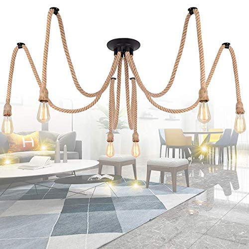 Lámpara colgante vintage de cuerda cáñamo, 2 m, lámpara longziming con 6 portalámparas E27 (sin bombilla), accesorios para bricolaje, cocina, bar, base, almacén, granja [Clase energética A+++]