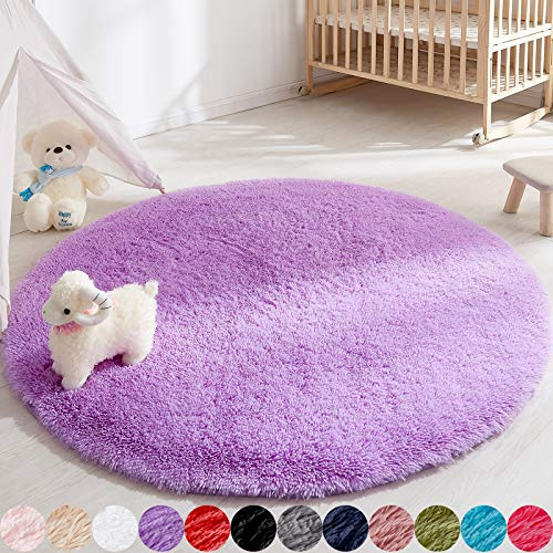 Lavender Round Area Rug for Bedroom, 5 Foot Purple Circle Rug for Nursery Room, Fluffy Carpet for Kids Room, Shaggy Floor Mat for Living Room, Furry Area Rug for Baby, Teen Room Decor for Girls Boys