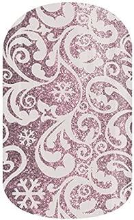 Jamberry Nail Wraps - Silver Frost - HALF Sheet - White Scrolls & Snowflakes on Rose Silver Sparkle