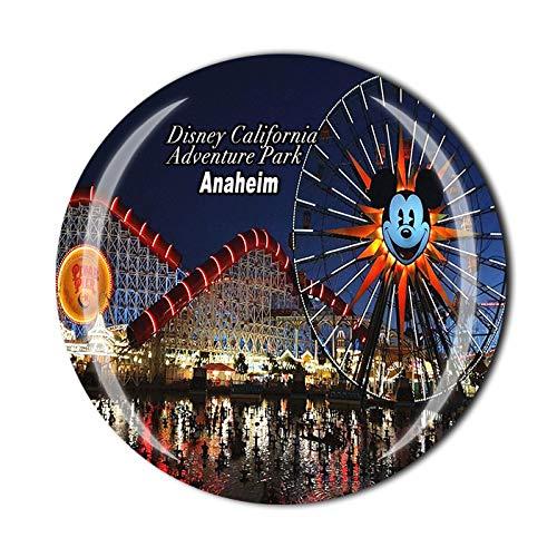 Imán de cristal para nevera, diseño de Anaheim Disney California Adventure Park USA