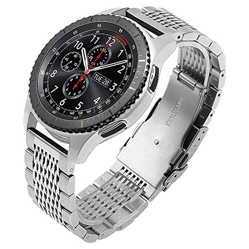 Kai Tian Compatible for Samsung Gear S3 Bands 22mm Stainless Steel Mesh Watch Band for Samsung Galaxy Watch 46mm, Gear S3 Frontier/Classic Smart Watch Strap for Men Women Silver Bands Smartwatch