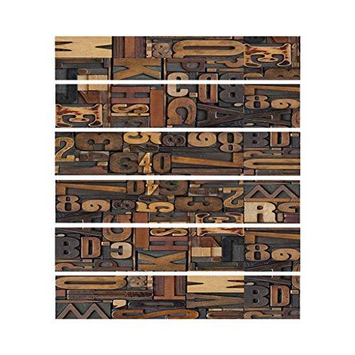 Paquete de 6 pegatinas de Njuyd con patrón vintage para suelo de baldosas, para decoración de baño, cocina, resistente al agua, adhesivo para papel pintado