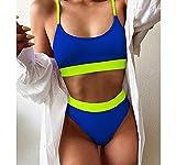 maozuzyy Bikinis Bañador Mujer Bikinis De Cintura Alta para Mujer Correas Acanaladas Mejora Traje De Baño Bikini Ropa De Playa-Azul_M
