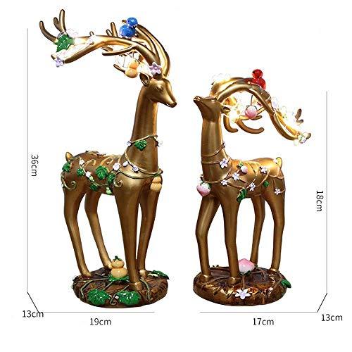 JF-XUAN Europäische Hauptdekoration Leuchtende goldenes Paar Rotwild Ornamente Harz Handwerk Ornamente kreative Geschenke von Blumen und Vögeln Langlebigkeit Deer Ornament 19 * 13 * 36cm Stilvoll und