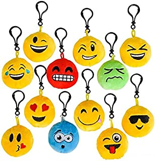 Plush Toy Emoji Keychain - 24 Pieces, in 12 Different Faces - Great Prize, Party Favor, for Boys and Girls – by Kidsco