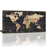 World Map Wall Art Black Wood Grain Retro Map of The World Nautical Map Poster Modern Framed Wall Art for Living Room Mural Painting For Home Office Decor