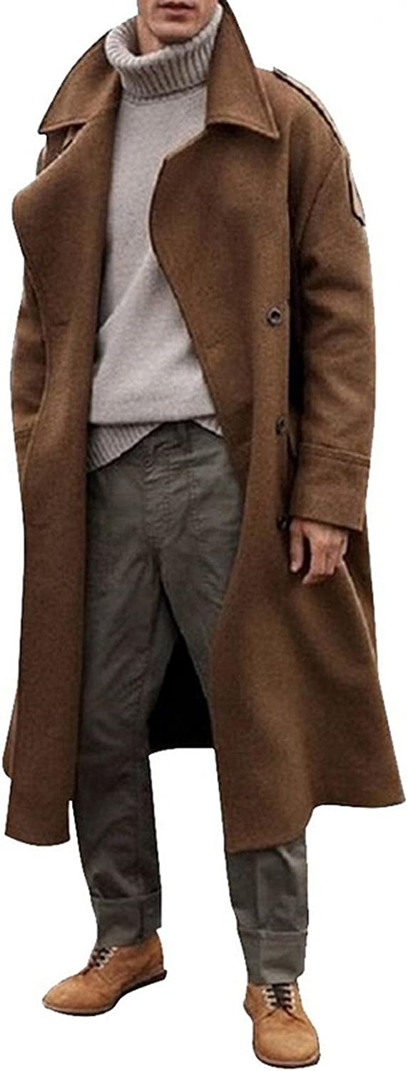 Huangse Men's Wool Blend Trench Coat Double Breasted Slim Fit Mid-Length Notched Collar Winter Overcoat Quilted Pea Coats