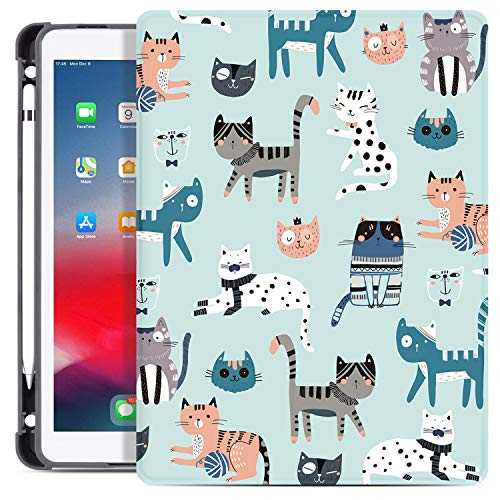 Drodalala Case for iPad 10.2 7th Generation 2019/ iPad Air 3 10.5 2019 / iPad Pro 10.5 2017, Soft TPU Full Body Protection Leather Stand Case with Pencil Pen Holder(Blue Cat)