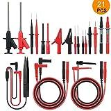 Cables de Prueba del Multímetro, Meterk 21en1 Kits de Cables de Prueba Electrónicos Cable Multímetro con Pinzas de Cocodrilo Puntas Reemplazables Puntas Kit de Accesorios Multímetros Digitales