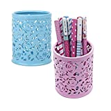 2 Pz Lapicera Portalápices de Metal Cilindro Cajas Contenedor de Lápices Oficina Casa Organizador Lápices Diseño Rosas Huecas para Almacenamiento de Lápices Cosméticos etc-Azul Rosado
