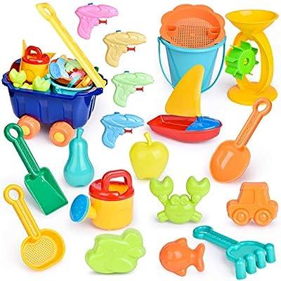 FUN LITTLE TOYS Beach Toys for Kids Set, Outdoor Toys for Kids, Summer Fun Sand Toys and Sandbox Toys, 20 Pieces