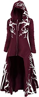 Fshinging Womens Hooded Dress Plus Size Tree Print High Low Halloween Coat Blouse Tops