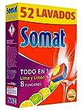 Somat Todo en 1 Lima y Limón Pastillas Lavavajillas - 52 Lavados