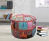 Pouffe redondo indio patchwork otomanos decoración piso reposapiés vintage sillas puf cubierta...