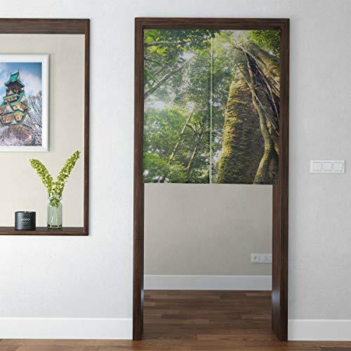 QIAOLII Puerta de Cortina Japonesa de Estilo Corto japonés Amazon Primeval Jungle Door Cortinas de Cocina Tapiz de Puerta para decoración del hogar