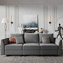 HONBAY Convertible Sectional Sofa Couch with Modern Fabric Modular 3 Seater Sofa for Apartment, Grey