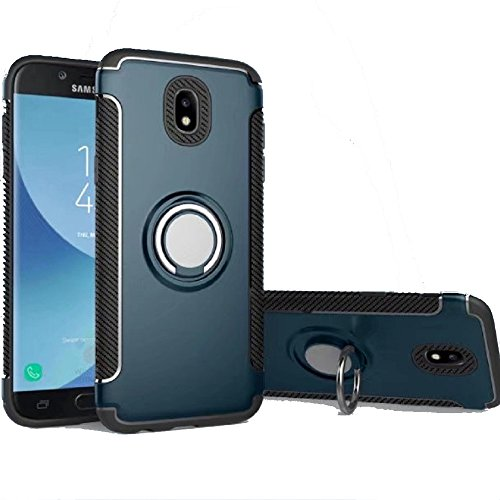Galaxy J5 Pro Case, Ranyi [2 Piece Ring Cover] [360 Rotating Metal Ring] Hybrid 360 Full Body Protective 2 in 1 Rugged Case for Samsung Galaxy J5 Pro International Version (2017), Navy