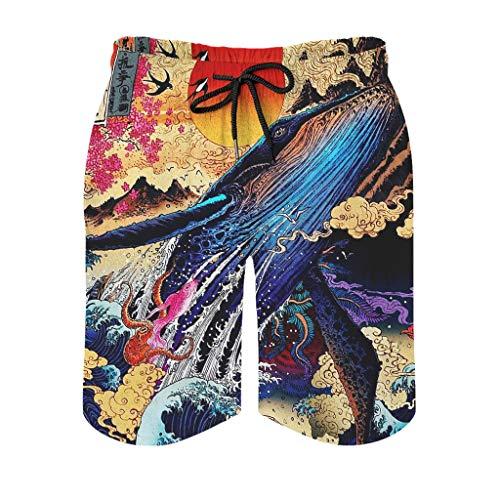 kikomia Herren Strandshorts Jahrgang Japanisch Blauwal Kraken Koifish Phoenix Rot Sonne Meer Welle Ukiyoe Druck Traditionell Strandbekleidung mit Taschen Mesh Futter White 3XL