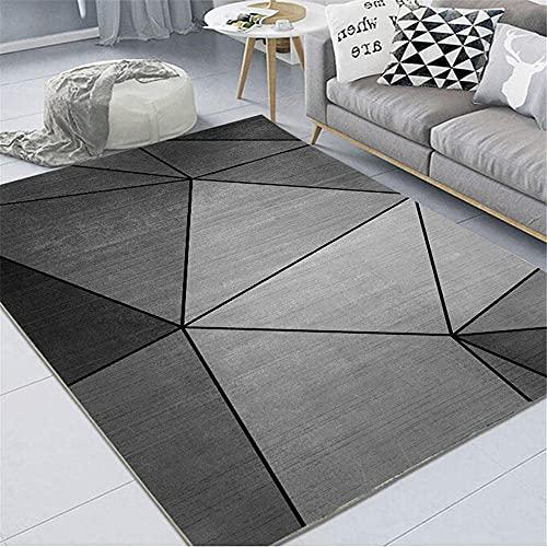 Alfombras Alfombra Lavable Alfombra geométrica Gris Negra Fácil de Limpiar y Duradero Decoracion Dormitorio Alfombra Salon 120*160cm