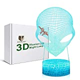 3D Illusion Alien UFO Night Lamp, 7 Color Change, Touch White Crack Base, Power by AA Batteries