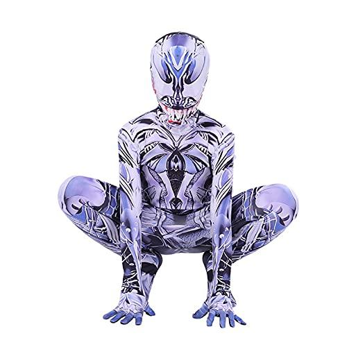 LQ-ZHUOJIAO Venom Costumi da Supereroe Bambini Spiderman Tuta Adulti Halloween Tuta Lycra Spandex Zentai Bambino Cosplay Vestito Operato Onesies,Silver-Kids 2XL (135~145CM)
