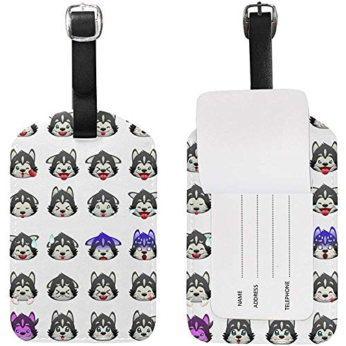Cute Husky Emoji Luggage Tag Travel ID Label Leather for Baggage Suitcase 2 Piece