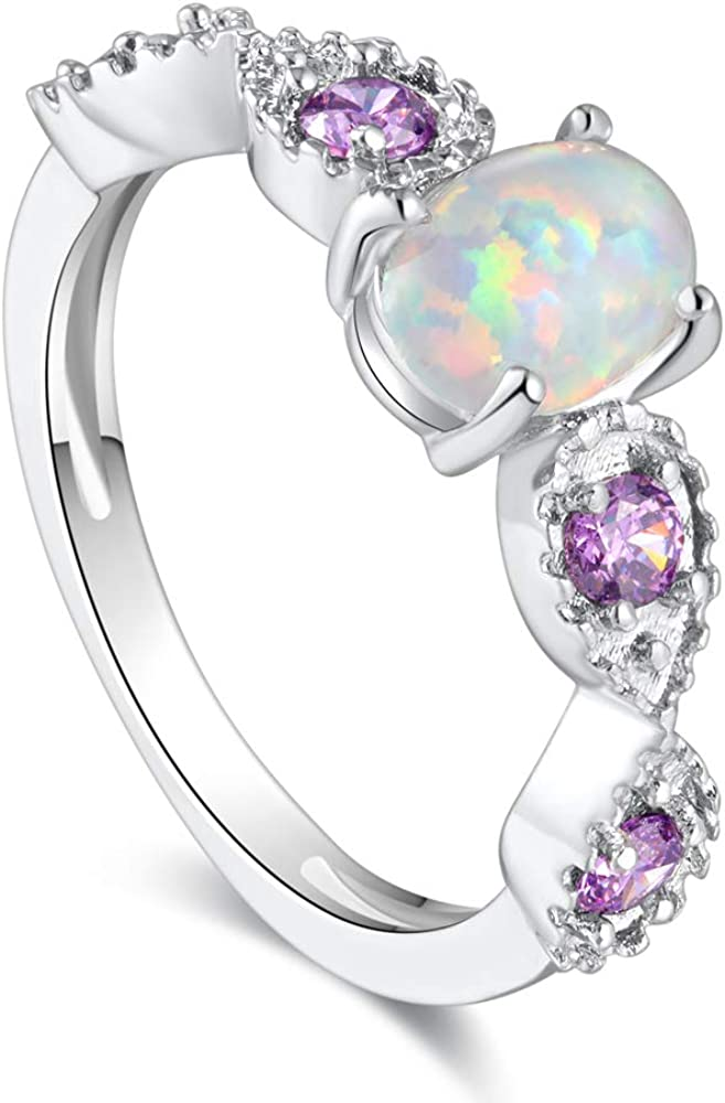 JRSIAL Oval White Super sale period limited Fire El Paso Mall Opal Rings Cubi Plated Silver with Purple