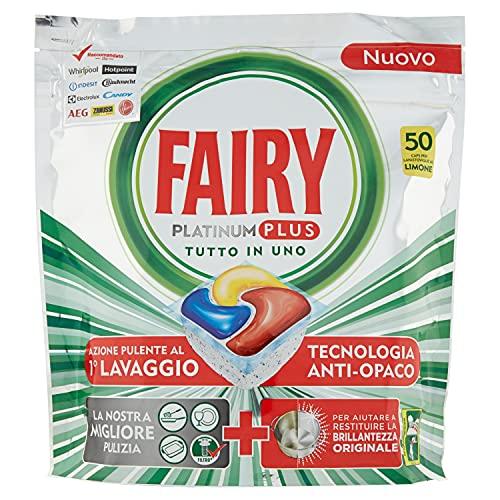 Fairy Platinum Plus - 50 pastillas para lavavajillas, detergente en paquete de 50 cápsulas, limón