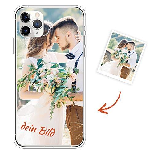 Suhctup Personalisierte Handyhülle Kompatibel mit iPhone 11 Pro Max 6.5, Selbst Gestalten Silikon Schutzhülle mit Eigenem Foto Text, Valentinstag Geburtstag Jahrestag Geschenk Fotohülle Case