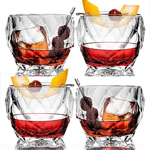 Juego de vasos de whisky de vidrio de 4 a 10 onzas, sin plomo, de estilo antiguo, para cóctel, vasos de cristal para bourbon, whisky irlandés, brandy y más, vasos de whisky escocés