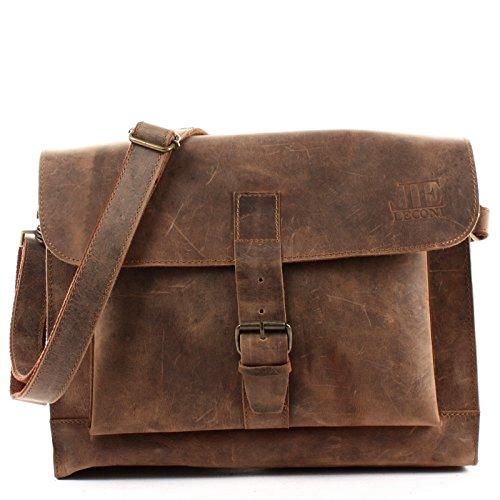 LECONI Messenger Bag DIN A4 Aktentasche Damen Herren Ledertasche Vintage Leder 38x29x11cm braun LE3054-vin